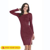 SARSALLYA Dress Autumn And Winter New Pattern Dresses Vent Button Knitting Dress Long Package Buttocks Wool Woman