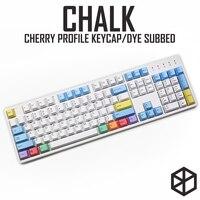 cherry profile Dye Sub Keycap Set PBT plastic chalk crayon for mechanical keyboard white blue orange gh60 xd64 xd84 xd96 87 104 Keyboards Computer & Office -