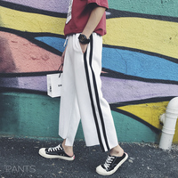 2017 Young Men S New Fashion Stripes Loose Waist Nine Korean Style Casual Trend Pants