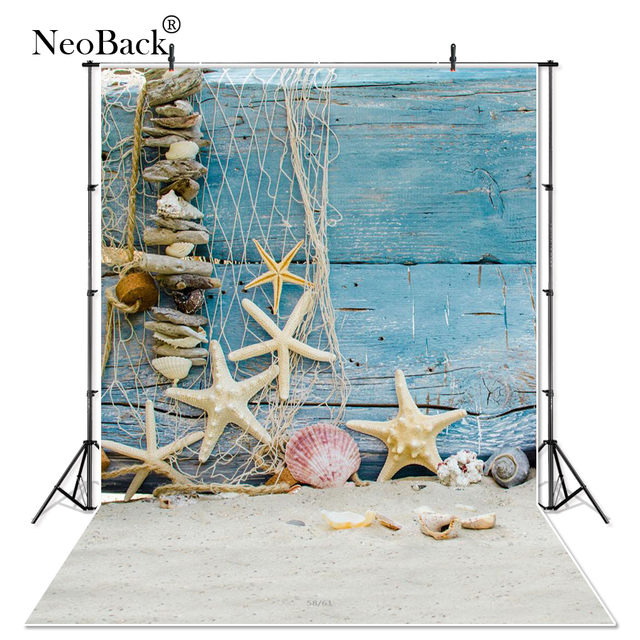 Neoback Vinyl Zomer Zee Strand Ster Vis Netto Hout Photocall Studio Foto Achtergronden Kinderen Kids Gedrukt Fotografische Achtergrond