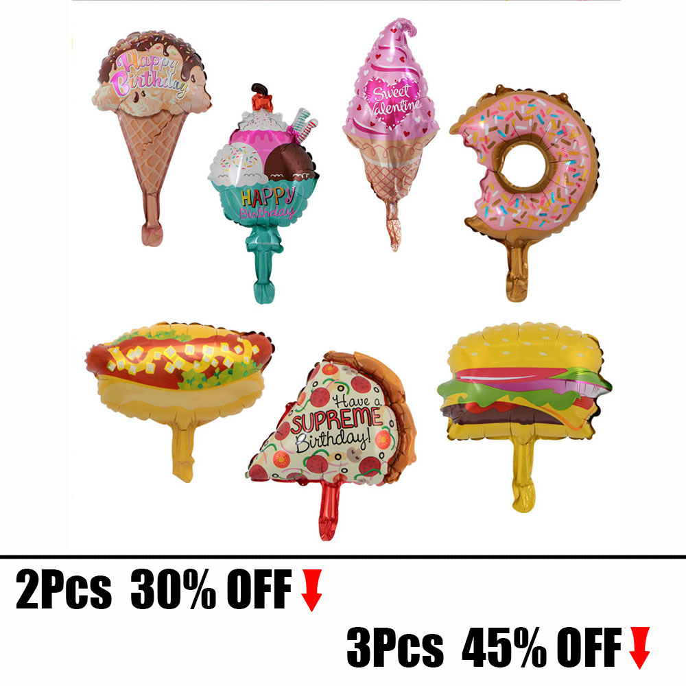 Funny Food Mold Foil Balloons Pizza Hot Dog Hamburger Ice Cream Happy Birthday Party Decoration Inflatable Balloon