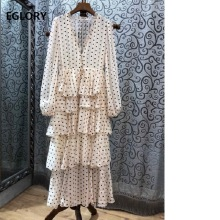 Princess V-Neck Polka Dot Print Cascading Ruffle Long Sleeve Maxi Dress