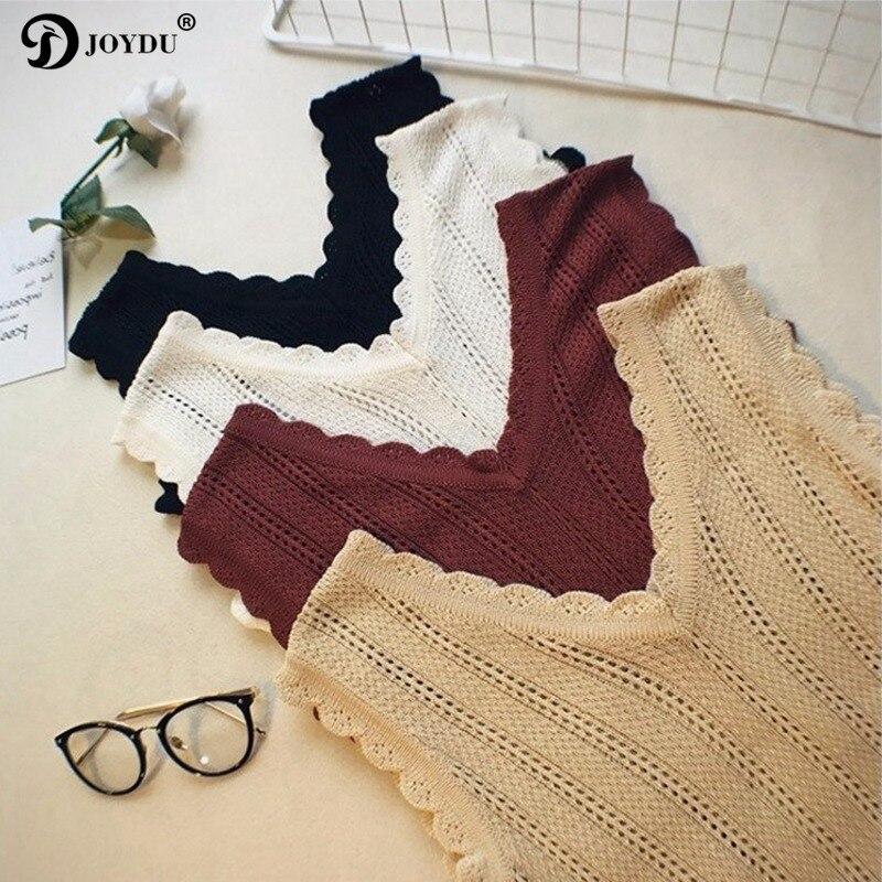 JOYDU Sexy Knit Cropped Camis 2018 New V Neck Hollow Out Summer Vest   Tank     Tops   harajuku Korean Fashion Sleeveless Women Crop   Top