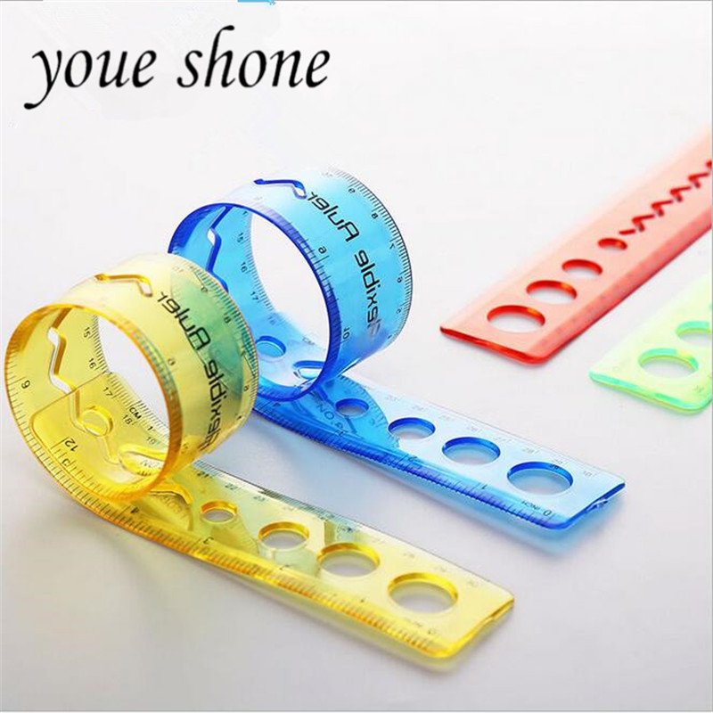Youe Shone  1pcs 30cm Bendable Ruler Children Pupils Cute Plastic Tape Stationery For School Office Suppiles