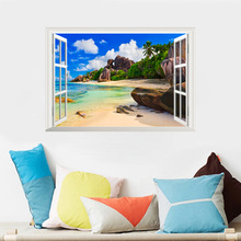 цена на 3D Window View Sea Beach Natural Scenery Wall Stickers Home Decor Living Room PVC Psoter Accessories Mural Wall Art DIY Decals