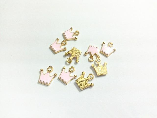 Wholesale 12mm 11mm 30pcs lot Gold Light Pink Enamel Crown Charms Pendants d0fe7139b31d