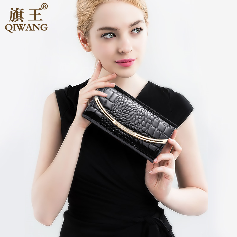 Long Purse For Women Wallets Genuine Leather Female Large Capacity Money Phone Pocket Card Holder Crocodile Lady Clutch Bag