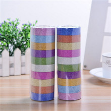 10 Rolls/lot 3 M Glitter Stiker Kertas Washi Masking Pita Perekat Label Craft Untuk DIY Dekorasi Warna Acak(China)