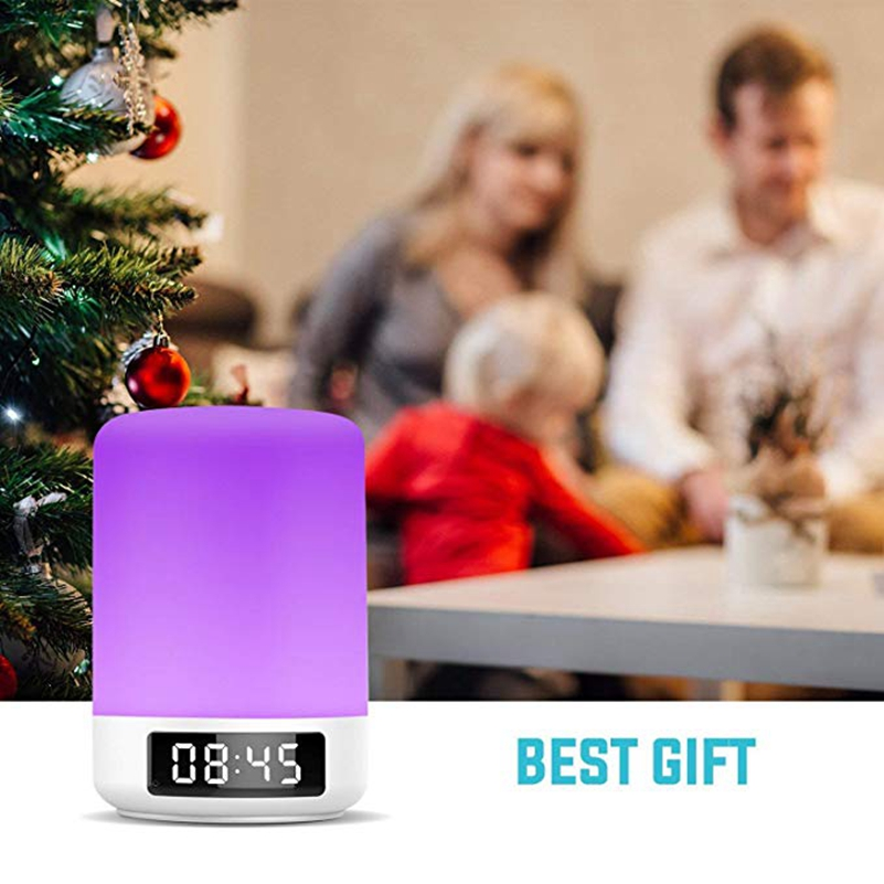 Image 2 - Night Light Bluetooth Speaker Touch Sensor RGB Dimmable Warm White Alarm Clock USB AUX MP3 Player for Kids Party Sleep As gift-in Portable Speakers from Consumer Electronics
