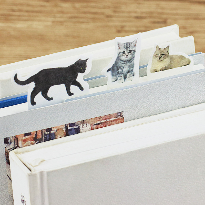 4PCS/LOT Kawaii animal Sticky Notes Post It memo pad School Supplies Planner Cute cat Self-Adhesive Sticky Notes Bookmark 01918