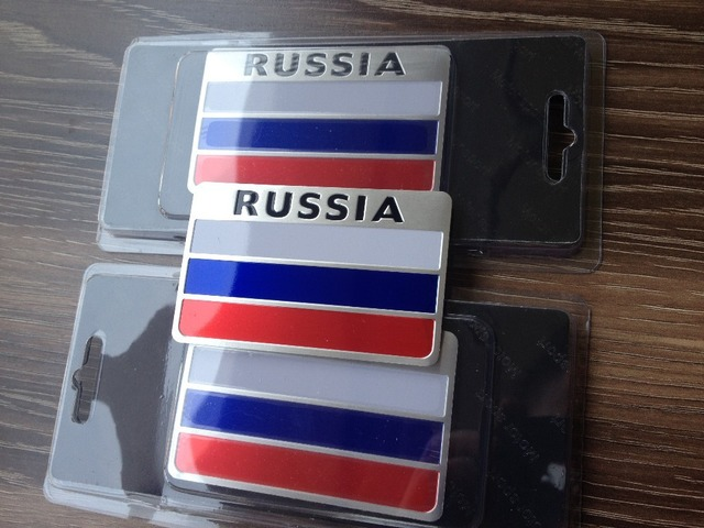 Automobiles russia 3d metal car stickers russia flag sticker on car covers label nameplate