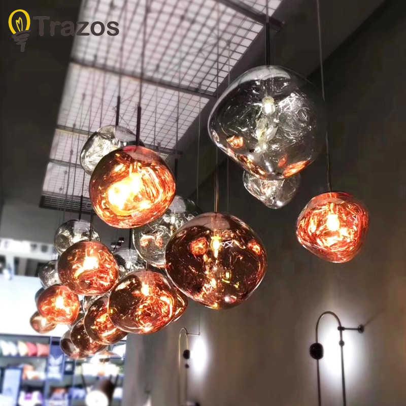 TRAZOS скандинавский цвет и стеклянный подвесной светильник для гостиной в форме капли воды E27 Лампа Эдисона светодиодный светильник для столовой подвесные светильники