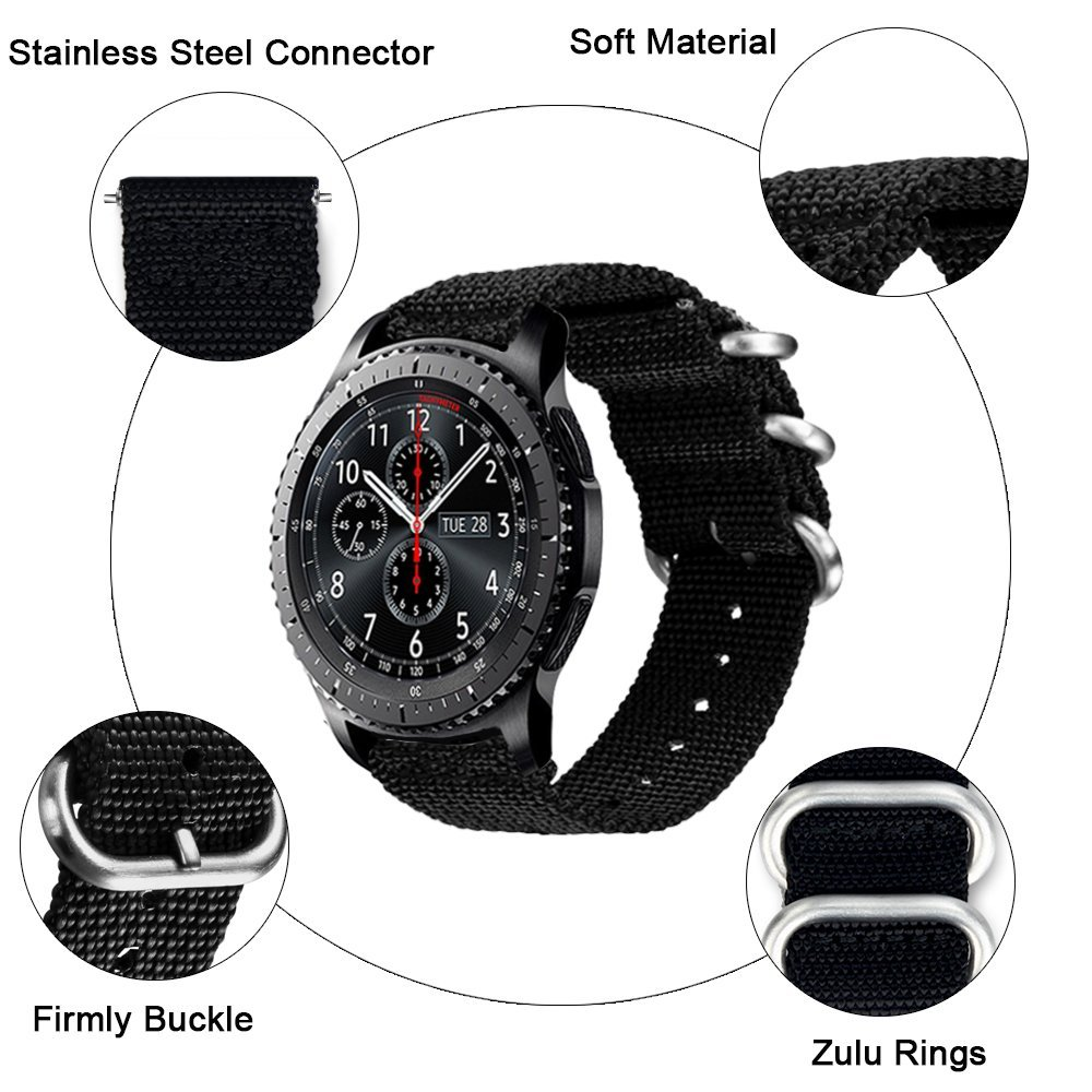 22m Woven Nylon Nate Strap For Samsung Gear S3 Band Replacement Watch Bracelet For Gear S3 Classic frontier survival nylon bracelet brown