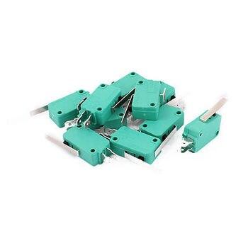 10 Uds momentáneo largo brazo de palanca, SPDT 1NO 1NC larga vida interruptor de límite micro verde KW3-0Z palanca con bisagra longitud 28mm