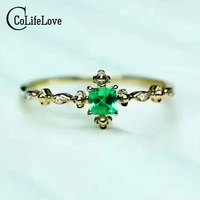 CoLife Ювелирные Изделия изумрудное кольцо 3 мм * 3 мм природный SI класса изумруд sivler кольцо твердые 925 серебряных изумрудный обручальное кольцо
