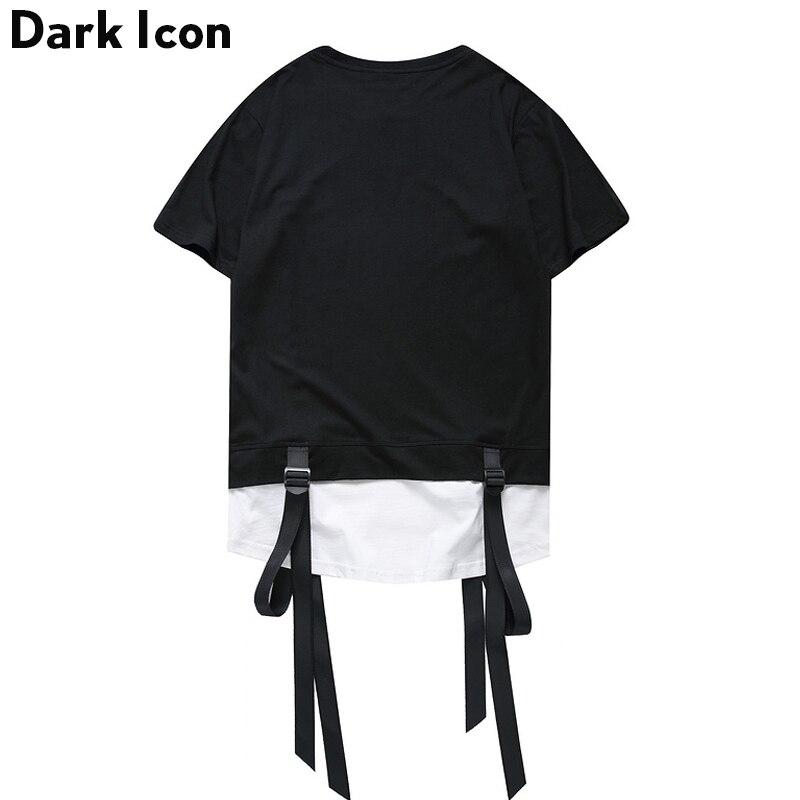 Color Block Ribbon Curved Hem Hiphop T-shirt Short Sleeve 2017 Summer New Fashion Men's Tshirt Casual Tee Shirts 2 Colors 3