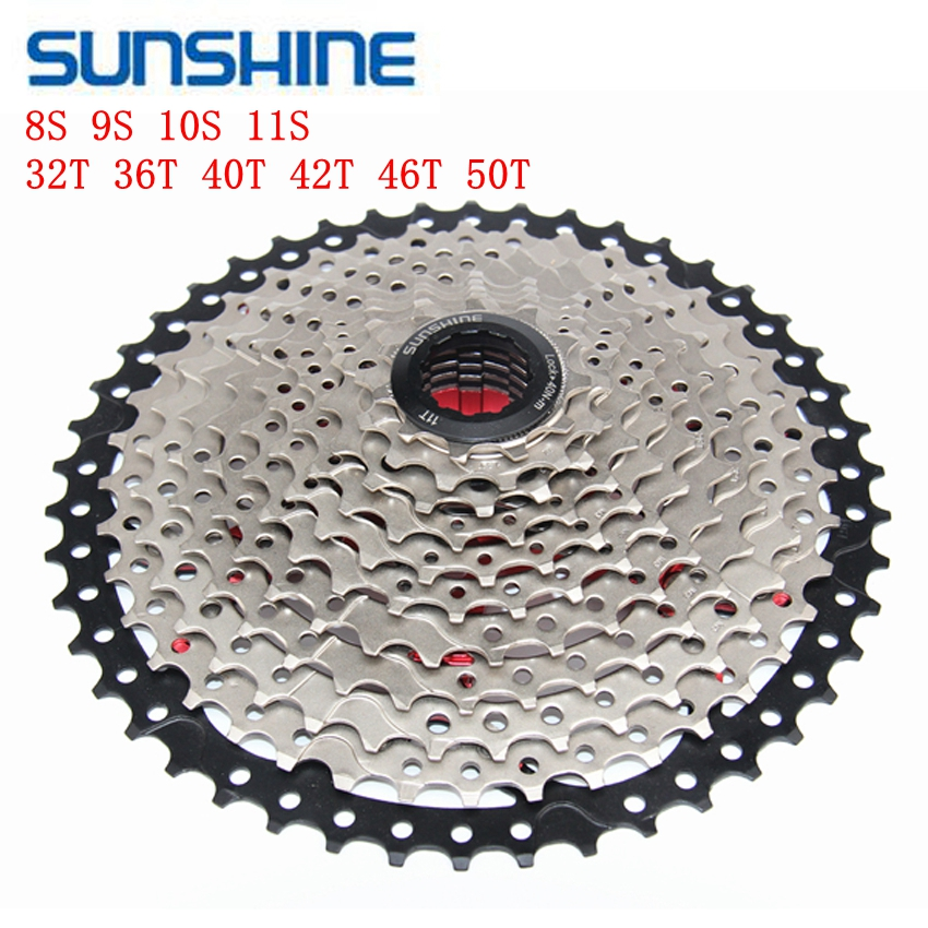 SUNSHINE 8 9 10 <font><b>11</b></font> Speed MTB Bicycle Free wheel 32T 36T 40T 42T <font><b>46T</b></font> 50T cassete velocidade wide Bike parts image