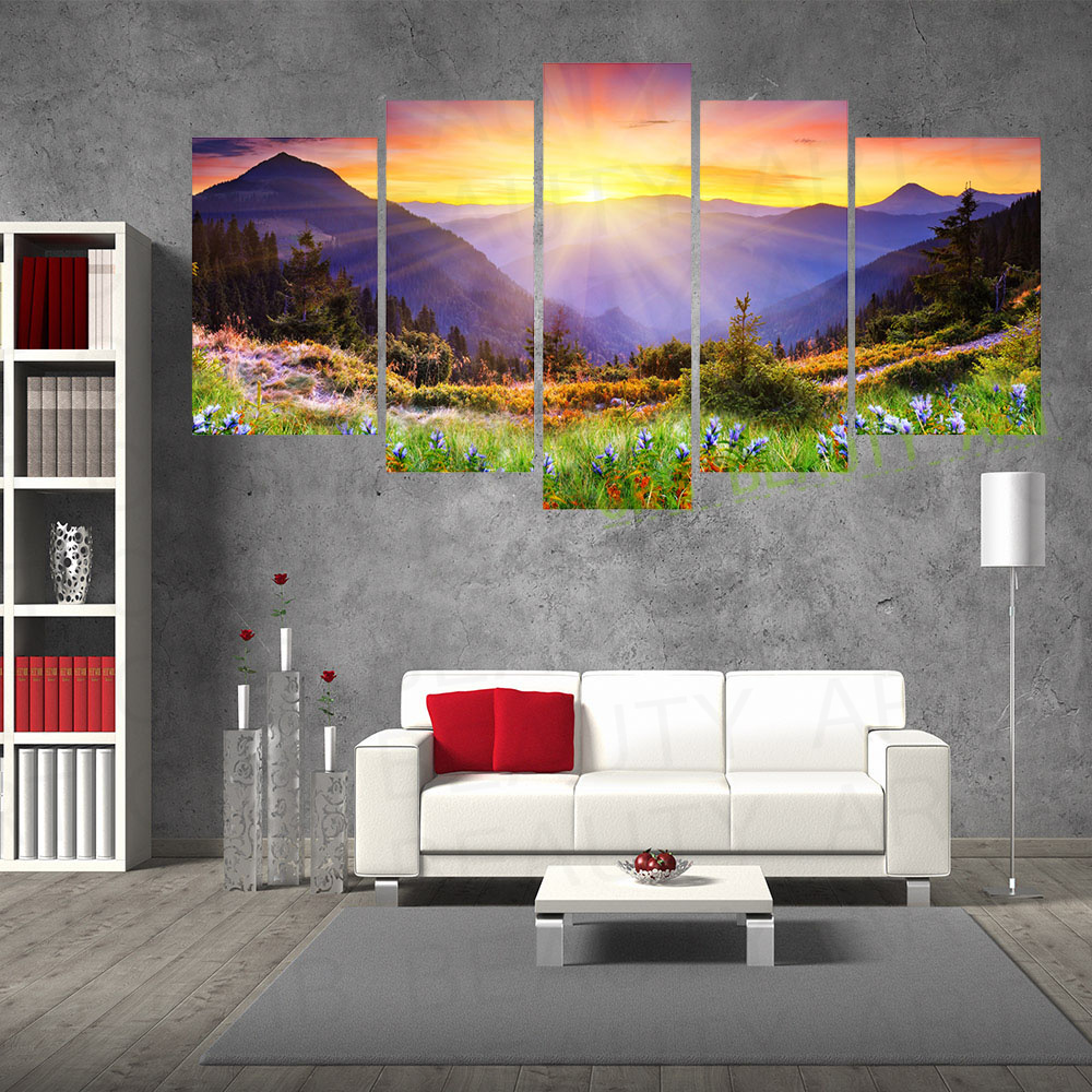 Living Room Canvas Paintings Aliexpresscom Buy 5 Panel Canvas Painting Mountain Forest