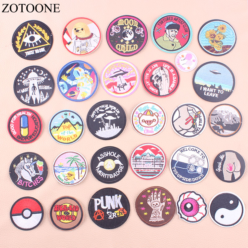 ZOTOONE Round UFO Parches Embroidered Iron On Patches For Clothing DIY Motif Stripes Clothes Stickers Alien Astronaut Badges E