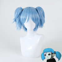 Game Sally Face Wig Cosplay Blue Short Clip on Ponytails Costume Prop Accessories SallyFace