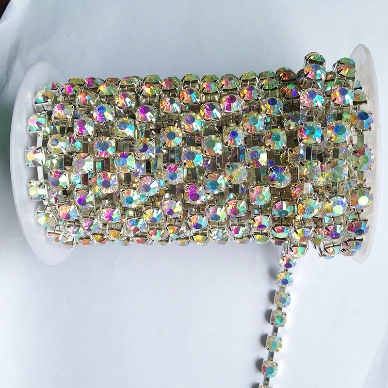 10 yards / roll crystal AB strass ketting SS6 om SS38 zilveren basis nieuwe stijl diy schoonheid trouwjurk accessoires strass ketting