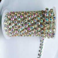 10 yards/roll kristall AB strass kette SS6 bis SS38 silber basis neue stil diy schönheit brautkleid zubehör strass kette