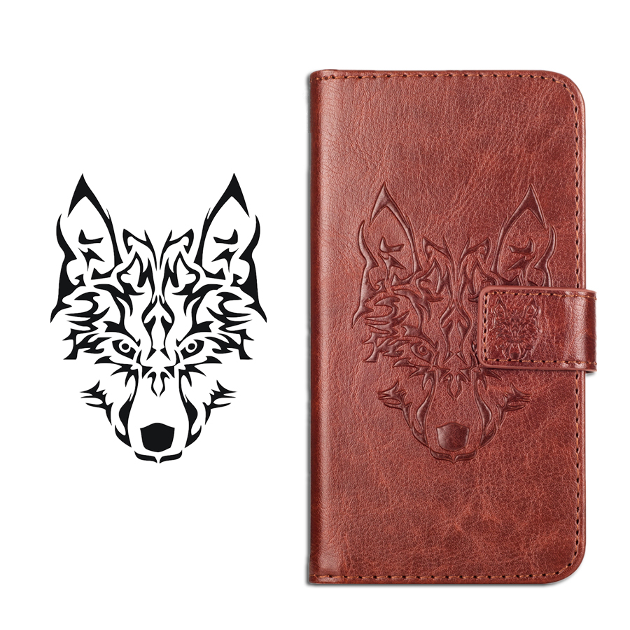 GUCOON Embossed Wolf Case for Huawei <font><b>P</b></font> <font><b>Smart</b></font> PSmart Cover Vintage Protective Phone Cases for Huawei Enjoy 7S Wallet Bag image