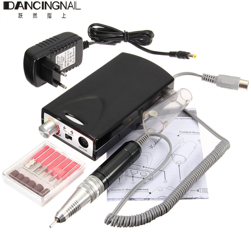 Pro Nail Art Electric Manicure Drill File Acrylic Rechargeable Pedicure Machine 6 Bit Set For Salon DIY Nails Feet Care Tools pro powerful 25000rpm electric nail drill pedicure manicure machine set with pedal