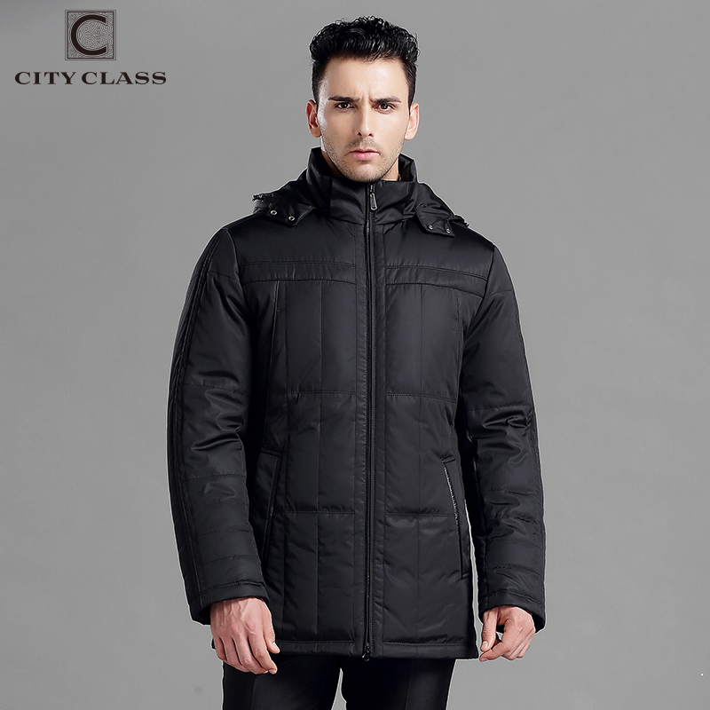 CITY CLASS New men thick warm winter jacket cotton poly fashion long classic removable hat free shipping winter jackets 13250