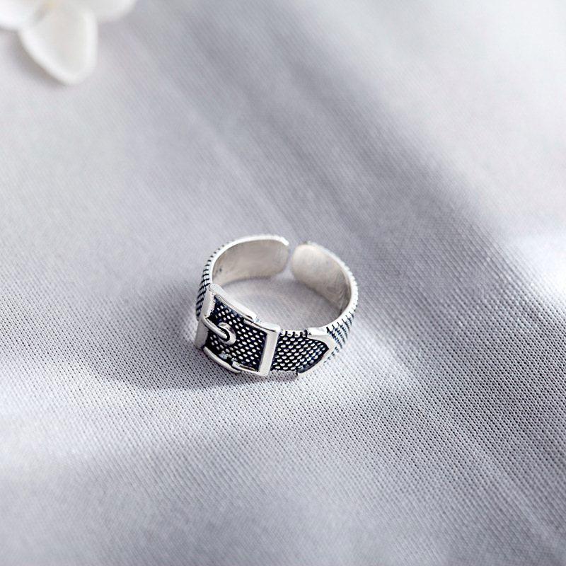 Real 925 Silver Open Rings For Women&Men Vintage Belt Thai silver Finger Rings Simple bijoux Adjustable bagueReal 925 Silver Open Rings For Women&Men Vintage Belt Thai silver Finger Rings Simple bijoux Adjustable bague