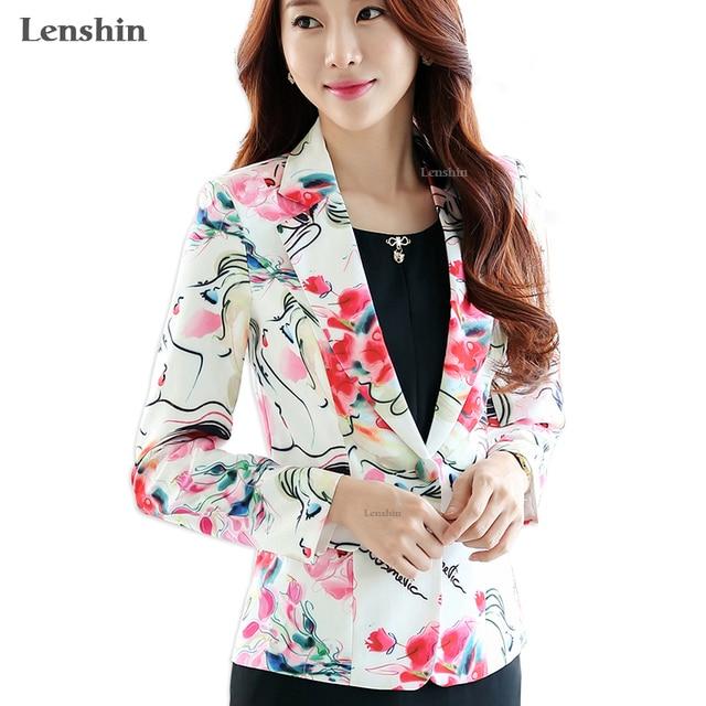Lenshin nueva moda chaqueta Floral para mujeres manga larga chaqueta abrigo  chaquetas botón ropa de mujer f4f92b014796