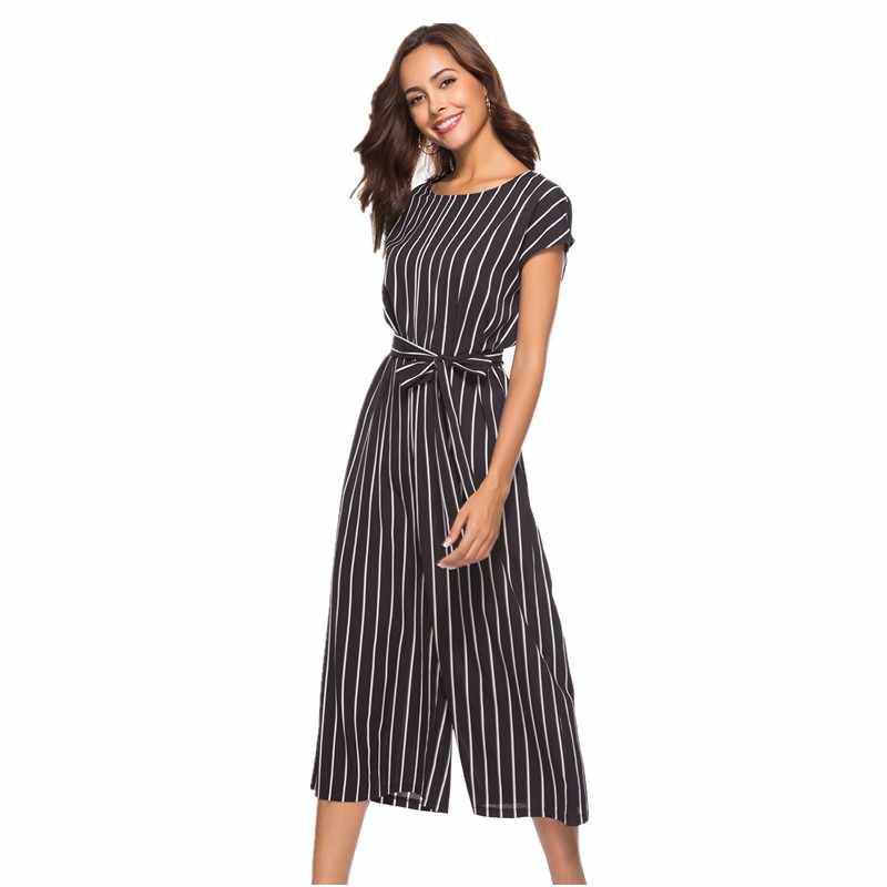 wide leg pants women plus size jumpsuit striped summer 2018 black loose rompers womens jumpsuit one piece overalls cotton SH8010