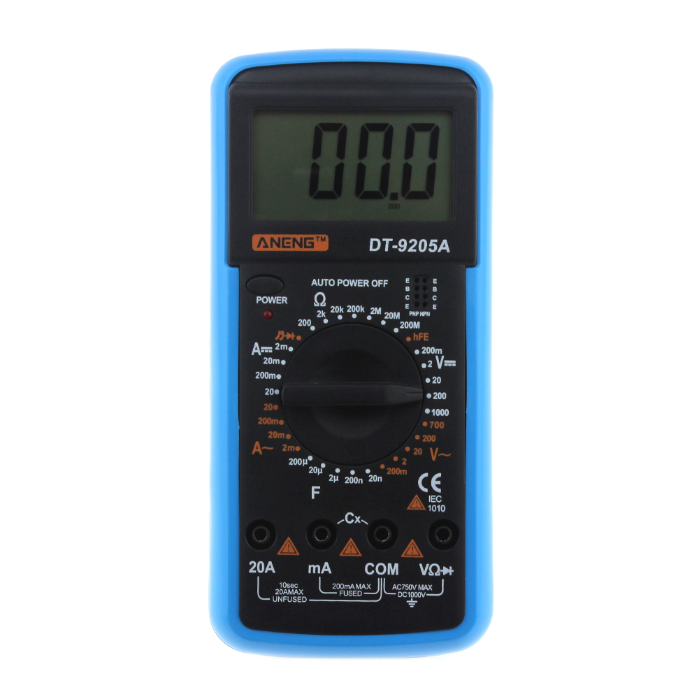 New DT9205A hFE AC DC LCD Display Professional Electric Handheld Tester Meter Digital Multimeter Multimetro Ammeter Multitester