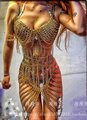 2016 New Sexy Gold Chains Outfit Stage Wear Nightclub Costume Party Dress Female Singer Outfits Tassel