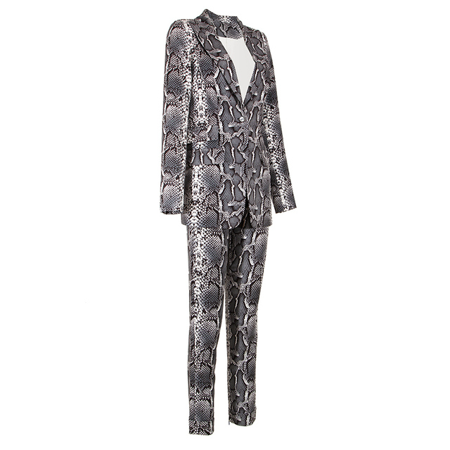 Kylie Jenner Snake-Print Pants Suit Designer Quality Two-Button Snakeskin Cotton Twill Peak Lapel Jacket Skinny Pants 2 Piece Set 3