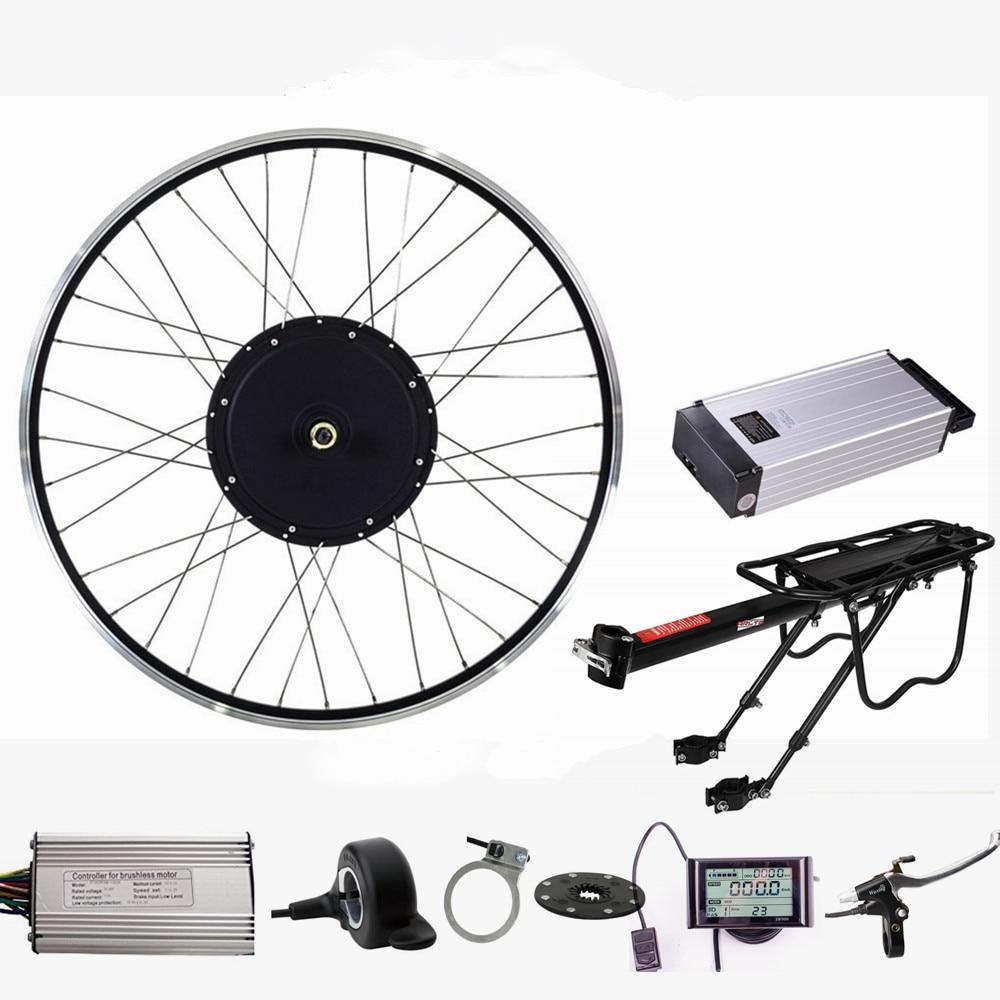 Elektrisk cykelmotorsæt 48V 1500W bagmotorhjul elektrisk cykelkonverteringssæt med 48V 20Ah Ebike litiumbatteri