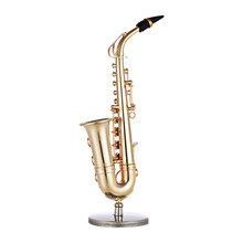 Mini Brass Alto Saxophone Sax Model Exquisite Desktop Musical Instrument Decoration Ornaments Musical Gift with Delicate Box(China)