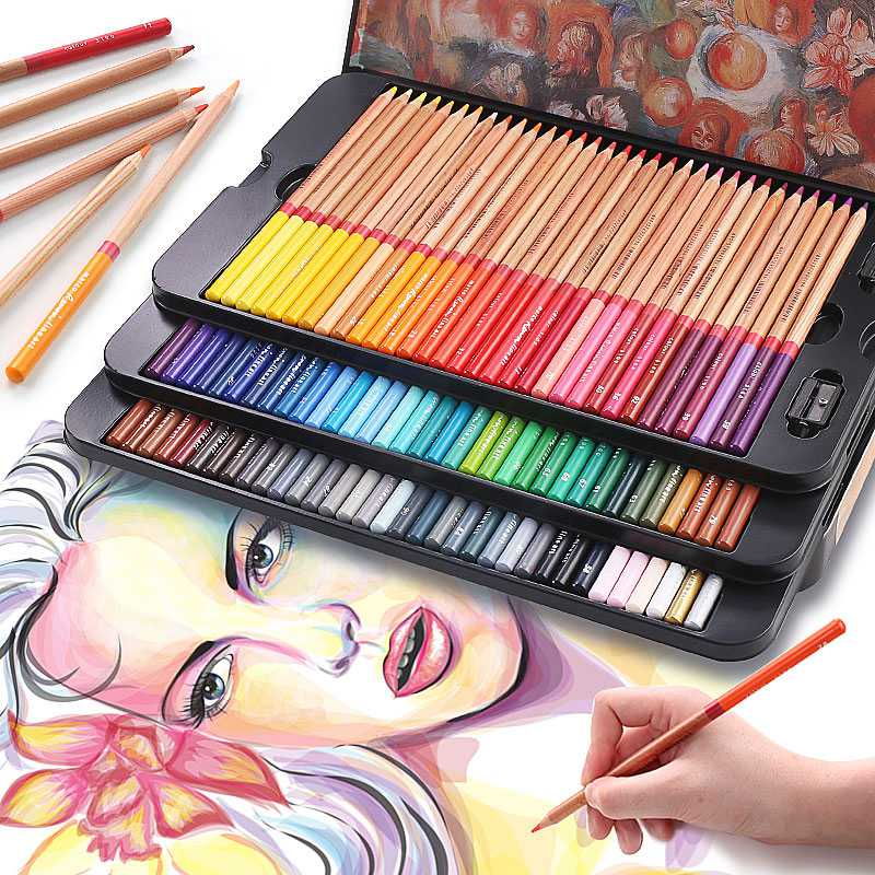Soluble Water Color Pencils Set 24/36/48/72 Colors Oily Color Pencils For Drawing Painting Sketch Tin Box Art School Supplies deli professional color pencils set for drawing 36 48 72 colors painting sketch tin box art school artist supplies colour pencil