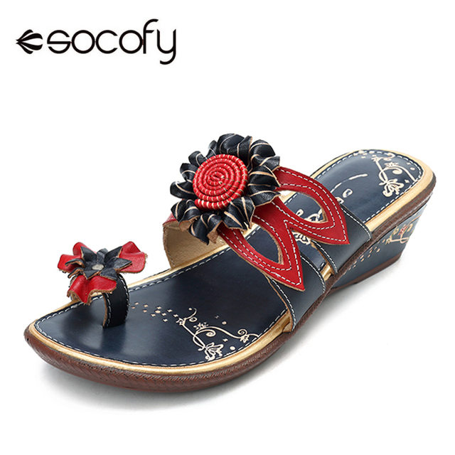d8af9dbaadda Socofy Flip Flops Slippers Women Shoes Genuine Leather Vintage Flower  Ladies Shoes Summer Casual Slippers Beach
