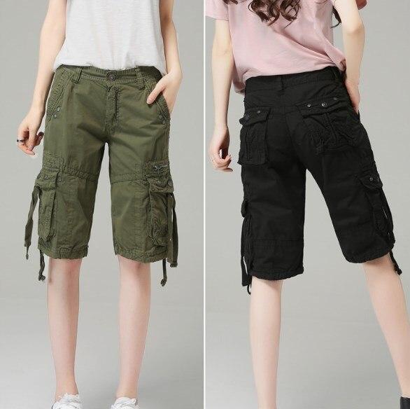 ladies knee length cargo shorts