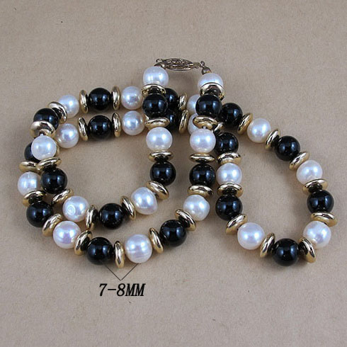 Unique Pearls jewellery Store,45cm Black Agates White Color Freshwater Pearl Necklace,Charming Women GiftUnique Pearls jewellery Store,45cm Black Agates White Color Freshwater Pearl Necklace,Charming Women Gift