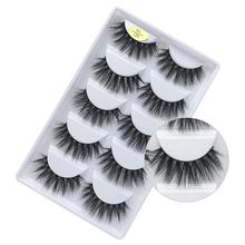 5 Pairs 5D False Eyelashes Thick Long Multilayer Fluffy Handmade Faux Makeup