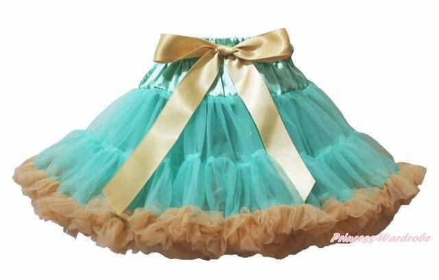 Aqua Blue Goldenrod Gold Khaki Girl Pettiskirt Skirt Party Dance Tutu 1-8Y