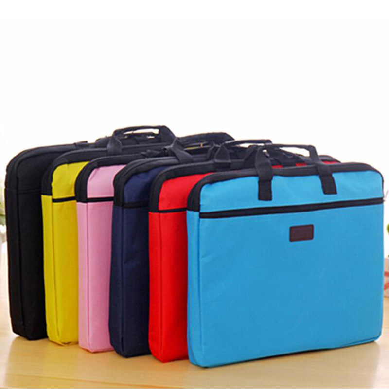 New Canvas Portable Briefcase Zipper Portable Office Conference File Briefcase