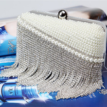 ONEFUL new evening handmade handbag clutch simulated diamonds pearl chain handbag night club evening party handbag 2018vintage evening clutch with luxury diamonds evening handbag with detachable chain unique design for a variety of occasions