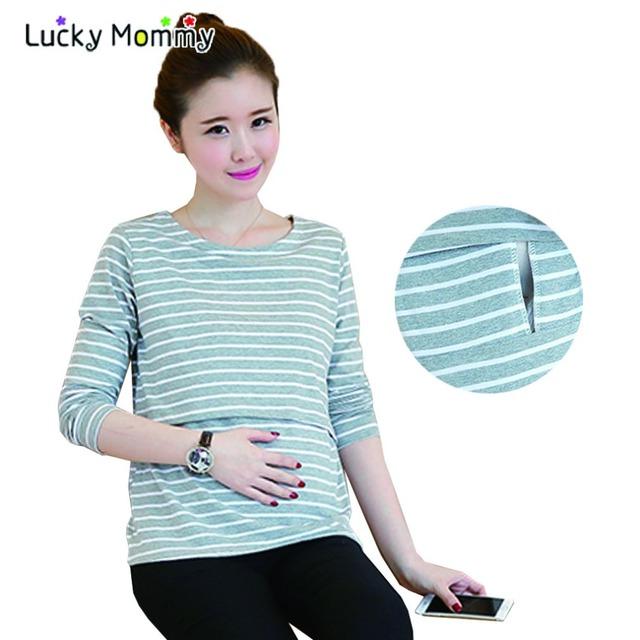 Tapas de Enfermería de Maternidad de La Raya ocasional Otoño Embarazo Camisetas para Las Mujeres Embarazadas de Manga Larga Ropa de Lactancia Materna