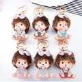 New Cute Monchichi Bling Bowknot Design Top Grade Rhinestone Doll Keychain Pendant For Handbag Charms Excellent New Year Gift
