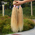7A cabelo brasileiro loiro encaracolado 613 virgem cabelo encaracolado kinky não transformados Irina hair produto 3 pcs extensão humano tecer cabelo loiro