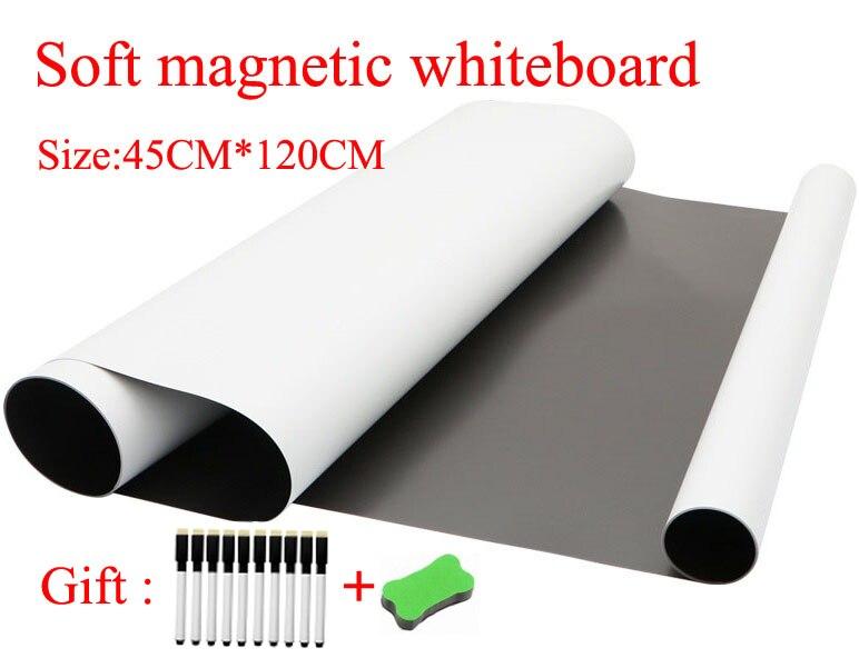 Soft Magnetic Whiteboard For Fridge Magnets Kids Home Office Dry-erase Board White Boards Size 45CMx120CM Gift 10 Pen 1 Eraser