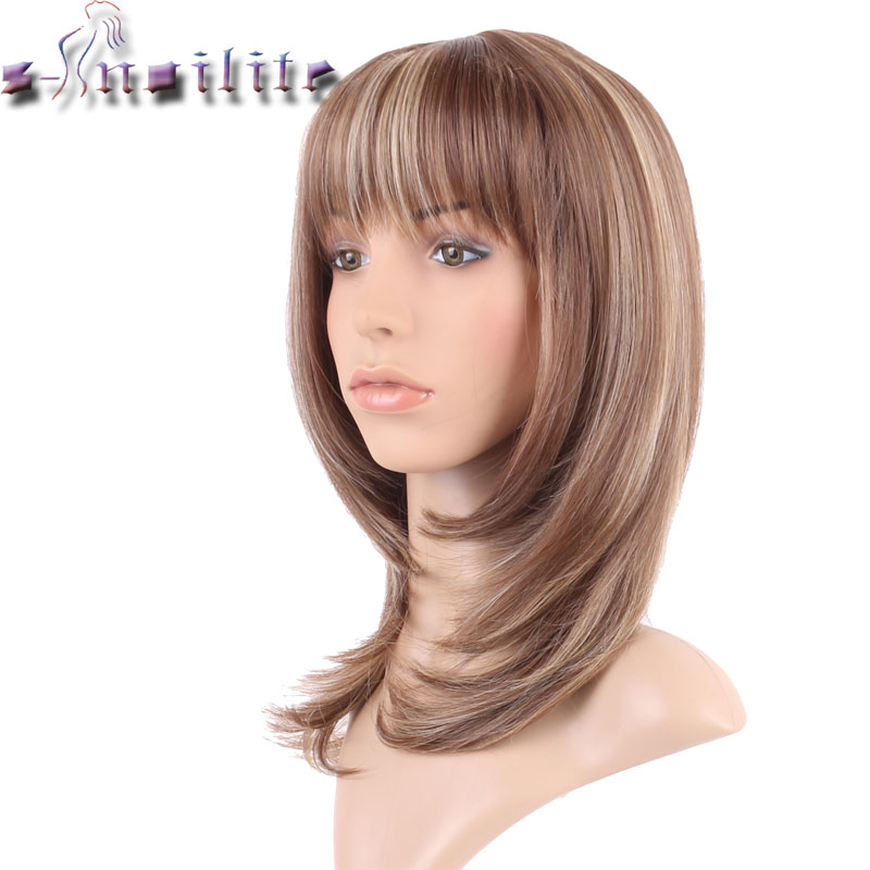 S-noilite 100% Real Natural Hair Straight Light Brown Mix Synthetic Wig With Bangs Party Hair Wigs